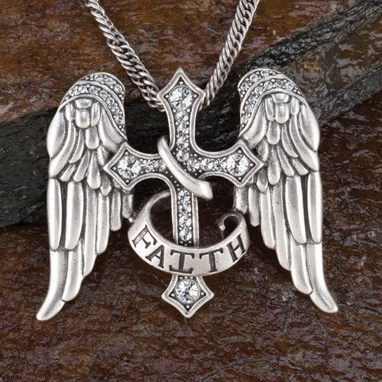 Faith Cross With Wings Necklace This would be an amazing tattoo <3