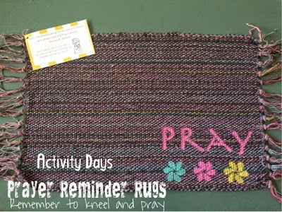 Prayer Rugs. LDS Activity Day Ideas