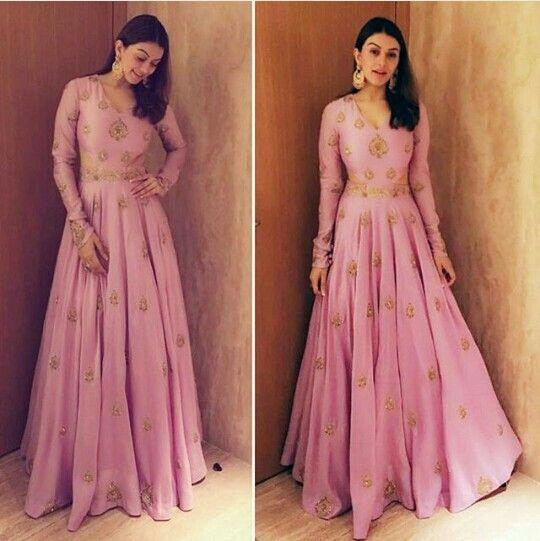 Pink anarkali long dress