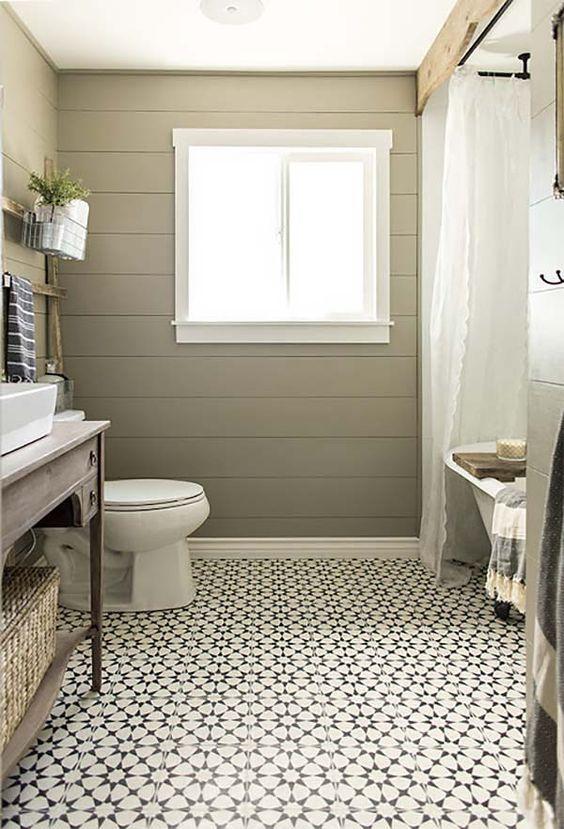 farmhouse styled bathroom