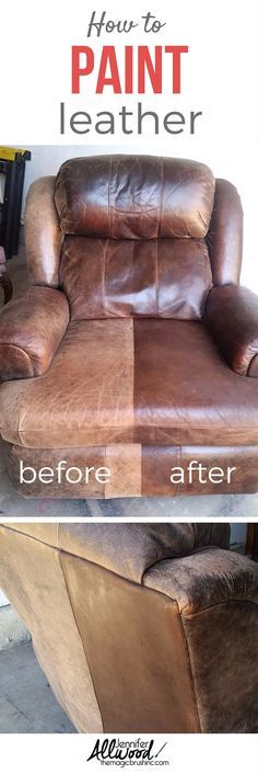 How to fix worn out leather furniture with paint! See the before - faded and cracked from the sun and worn out from being sat in. And see the gorgeous after! It's a major furniture facelift and it's super easy to do! More DIY projects, painting tips and decorating advice from http://theMagicBrushinc.com