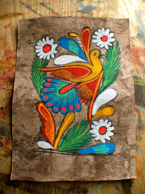 Vintage amate bark painting mexican folk art pajaro for Mexican arts and crafts for sale