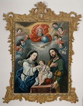 Workshop of Bernardo Rodriguez, acitve in Quito, Ecuador. The Holy Family with Mercedarian Symbols, late 18th–early 19th century. Carl and Marilynn Thoma Collection.  The Art Institute of Chicago. Doctrine and Devotion: Art of the Religious Orders in the Spanish Andes | The Art Institute of Chicago