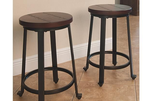 $39. Rustic Brown Challiman Counter Height Barstool View 1