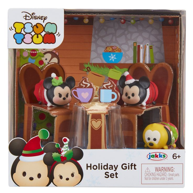 Tsum Tsum Exclusive Holiday Mickey & Minnie Gift Set Playset. Gift this adorable Mickey and Minnie holiday gift set!. Mickey and Minnie are in holiday attire. Find them sitting in front of a fireplace sipping on a hot cup of cocoa accompanied by their best friend Pluto!. Gift set can be used to stack with other Tsum Tsum figures and accessories!. Collect'em! stack'em! ages 6+.