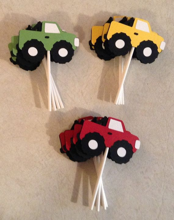 Monster Truck cupcake toppers  Party Supplies by Scrappin2gether, $10.00