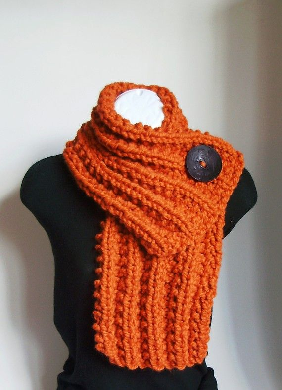 Pumpkin Orange Chunky Knit Cowl with Large Black Button $29