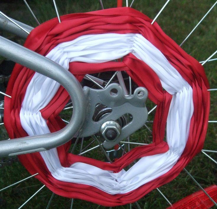 ribbon spokes , bike decorations. Other ideas: colorful straws (cut), beads, glow sticks