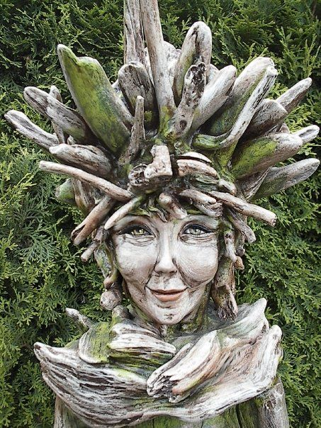 "Driftwood and Resin Clay Sculpture ""Forest Child"" by Tina Belt/A Driftwood Dream"