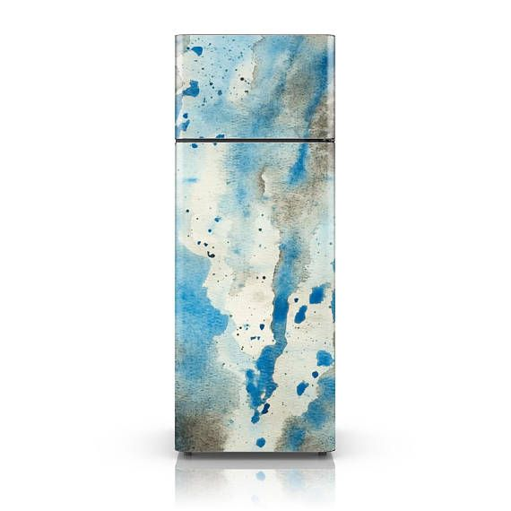 """If unconventional is your thing then you might love this grungy watercolor splash fridge wrap. It will definitely stand out in your kitchen decor. SIZES: Inches: 26"""" x 70"""" - Small Fridge 26"""" x 78"""" - Tall Fridge 37"""" x 70"""" - Wide Fridge 37"""" x 78"""" - Large Fridge 47"""" x 78"""" - Extra Large"""