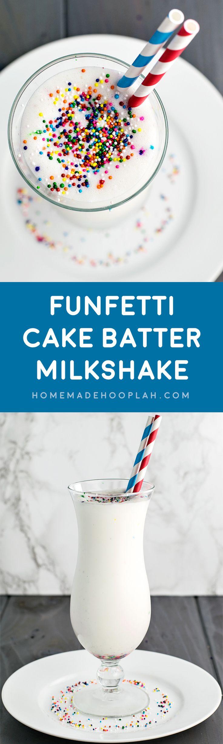 Funfetti Cake Batter Milkshake! A festive milkshake that's only 4 ingredients: creamy ice cream, rich cake mix, milk, and festive sprinkles.