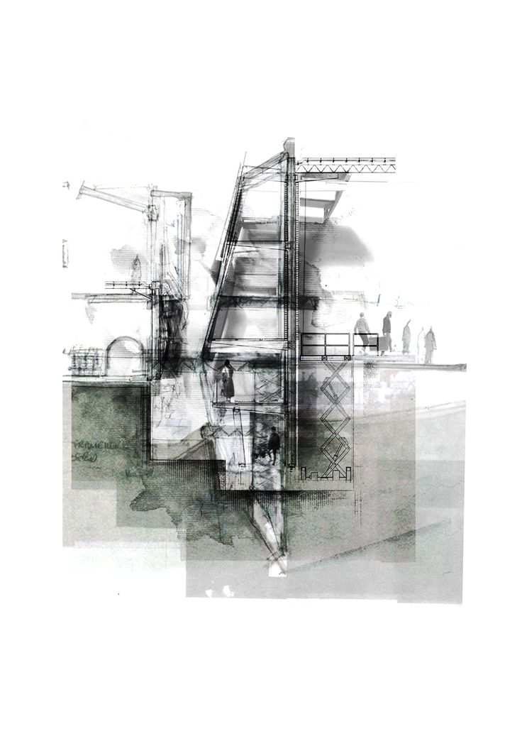 This drawing is abstract through the colour range used. It may look like a simple blueprint construction work although the range of tone used brings out certain structure of the work.