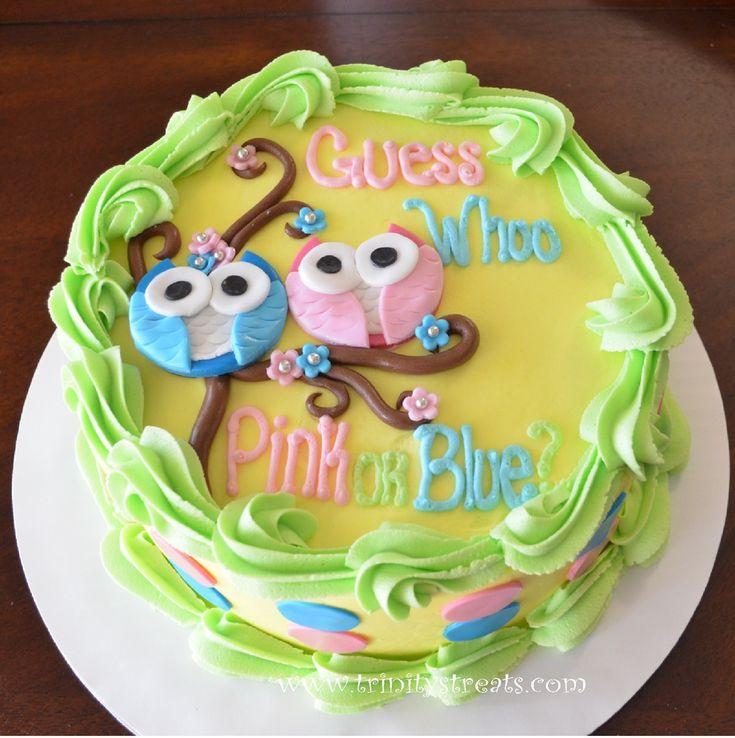 Owl Gender Reveal Cake www.trinitystreats.com