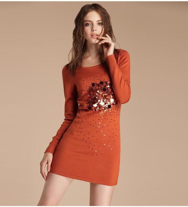 Beaded decorative knit cardigan dress  $66.05