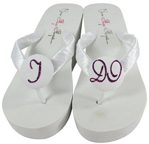 White Wedge Flip Flops with I Do Glitter for the Bride Wedding Bridal Heel Sandals >>> Details can be found by clicking on the image.