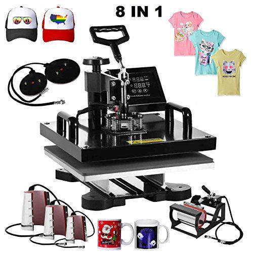 """Superland 8 in 1 Multifunction Sublimation Heat Press Machine T shirts Hat Mug Cap Heat Press 15 X 15 Inch (8 in 1: 15""""x15"""")  Heat press machine voltage:110v/power:1000 w; Full 360-degree rotation of swing-away design  Heat press with 8 heating elements of varying size: Platen press: 15"""" x 15""""; Hat/Cap press: 6"""" x 3"""" (curved); Mug Press #1: 2""""-2.75"""" diameter (6OZ); Mug Press #2: 3""""-3.5"""" diameter (11OZ); Mug Press #3: 12OZ latte mug (Cone); Mug Press #4: 17OZ latte mug (Cone); Plate Pre..."""