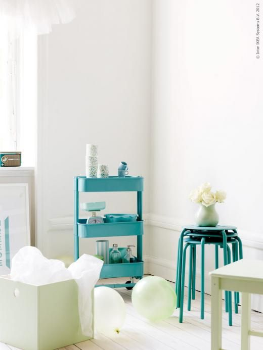 #ikea RÅSKOG kitchen trolley (turquoise), PRÄNT box with lid (painted light pistacchio),