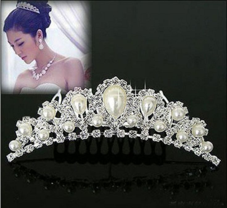 Cheap Comb Hair Buy Quality French Directly From China Combed Cotton T Shirt Suppliers New Elegant Pearl Rhinestone Inlay Crown Tiara