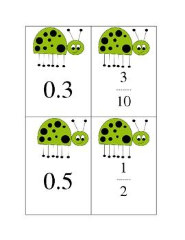 These cute ladybug cards can be used to practice relating decimals to fractions. Includes 20 cards to use as a matching game. These are great to us...
