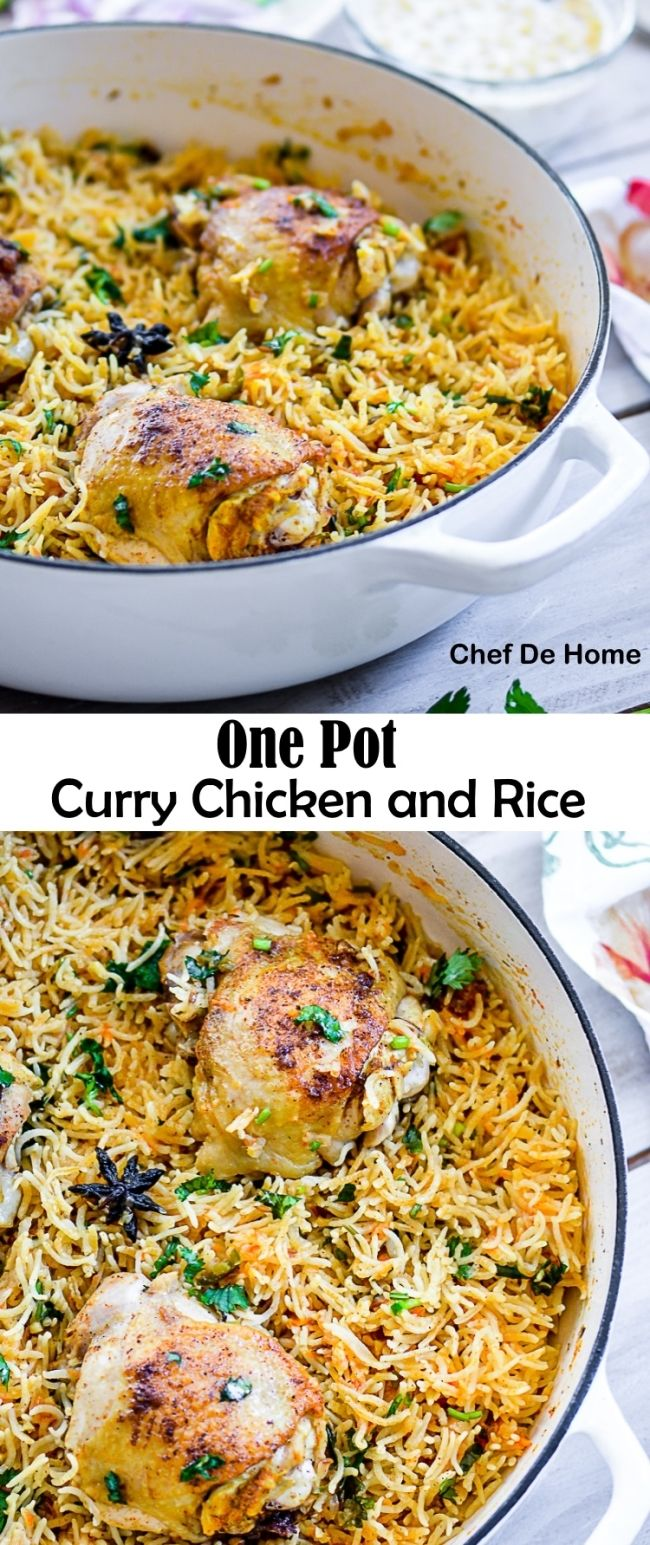 One Pot Curry Chicken and Rice Recipe. Mild Indian Spiced Curry Chicken cooked in one pot with flavorful Basmati Rice! Friends, this one pot dinner comes with promise of a comforting and easy weekday meal and NO huge pile of dishes to wash!