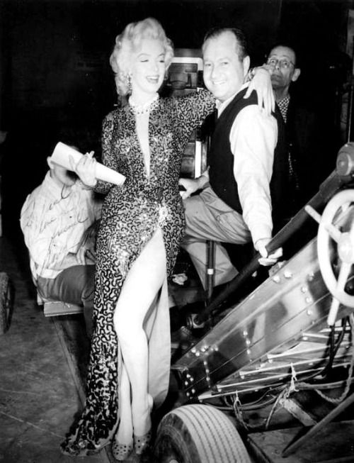 """A rare photograph of Marilyn Monroe on the set of Gentlemen Prefer Blondes. """