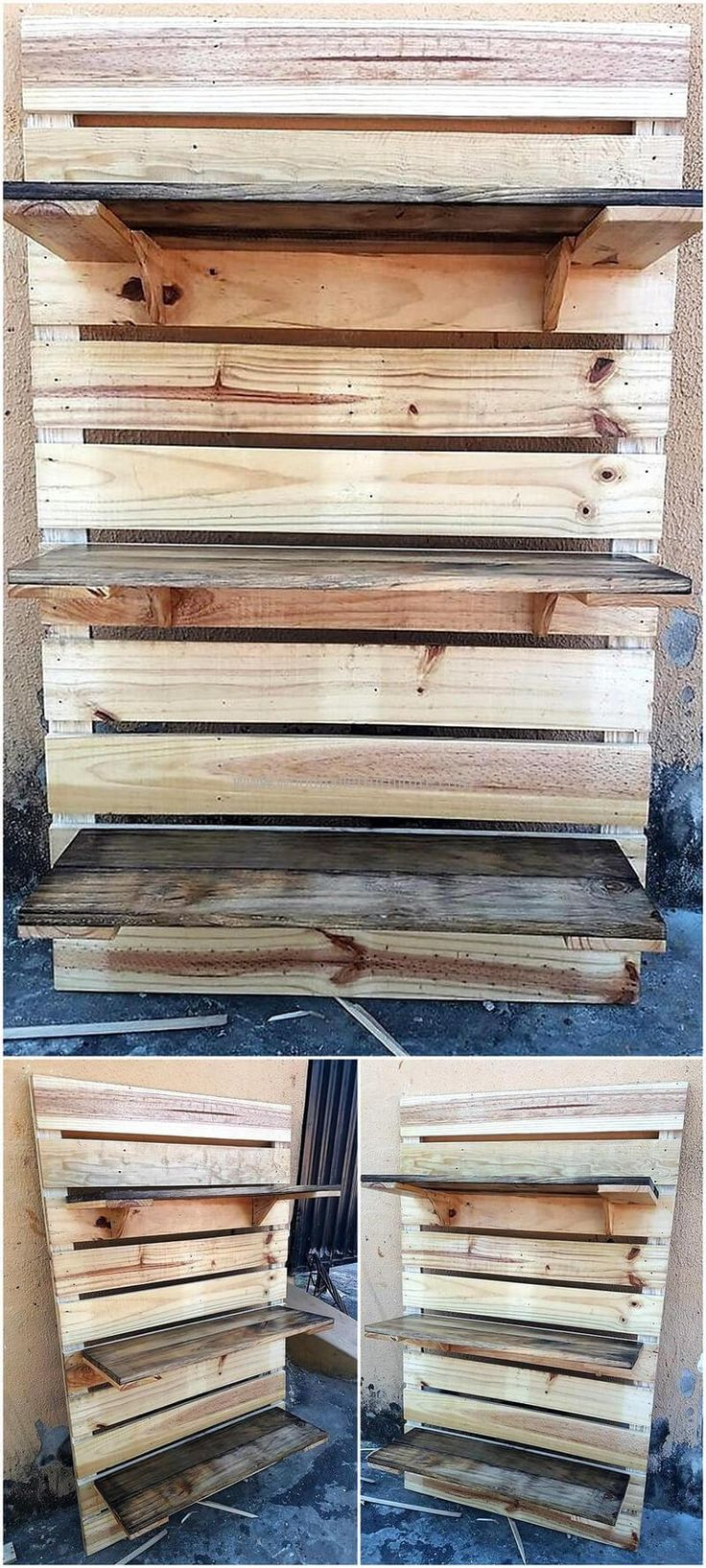 Here we have crafted a re-transformed wood pallet shelve racks to give you some storage option and enhance the over all look of your place. The racks could be used by many of your belongings. You can place your things here that are most often used and are placed here for your easy access.