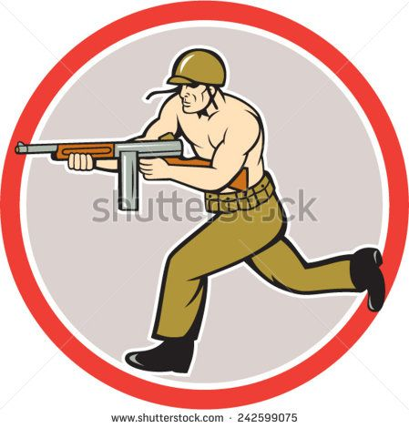 Illustration of a World War two American soldier serviceman running with tommy thompson sub-machine gun on isolated white background  done in cartoon style.  #soldier #veteran #cartoon #illustration
