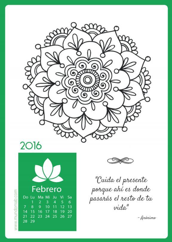 calendario mandala febrero para imprimir                                                                                                                                                      Más