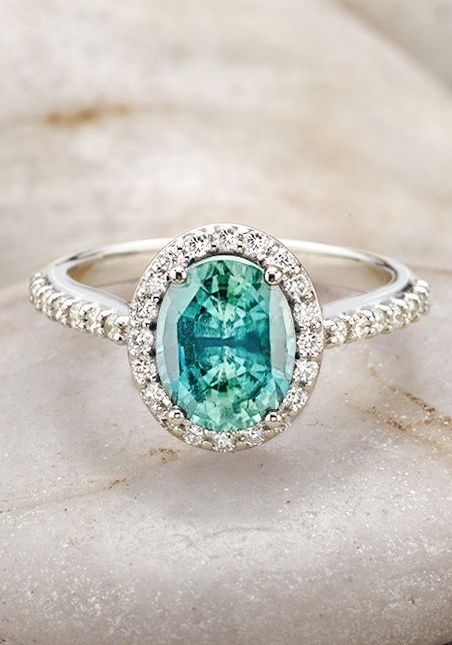 Gorgeous A teal sapphire diamond ring I think I would prefer something pale