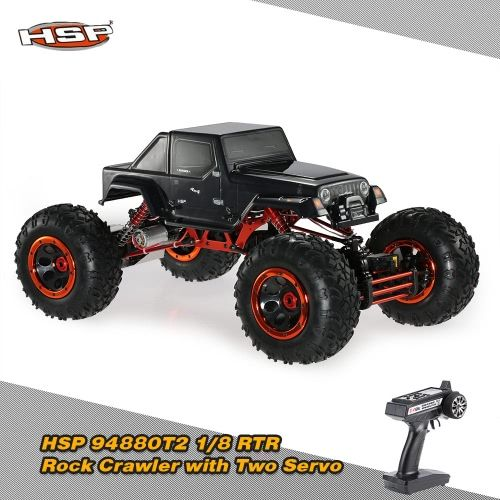 Original HSP 94880T2 1/8 2.4Ghz 3CH 4WD Electronic Powered Brushed Motor RTR Rock Crawler RC Car with Two Servo