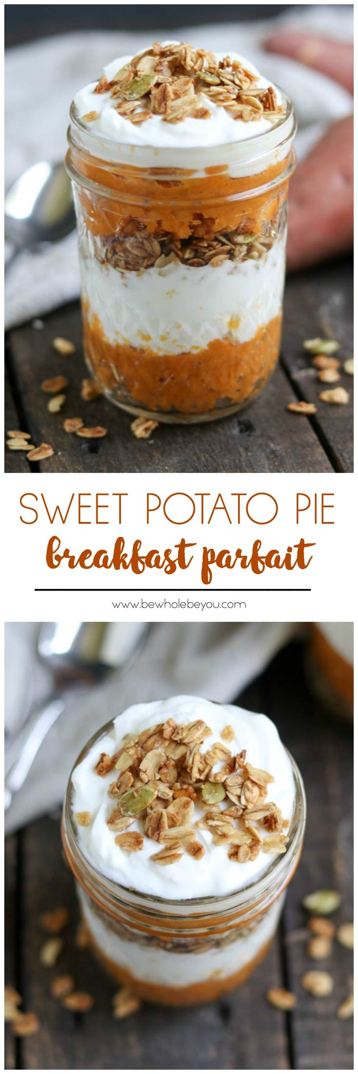 Sweet Potato Pie Breakfast Parfait. Pie for breakfast? This fall recipe is so simple to make but full of flavor. Yogurt, granola and sweet potatoes come together for the win!