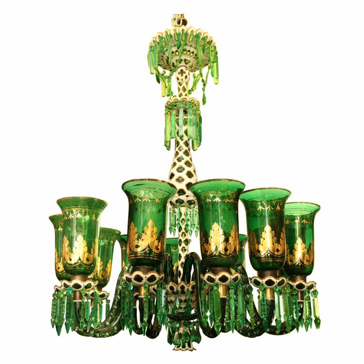 Green White And Gilt Glass Overlay Chandelier Attributed
