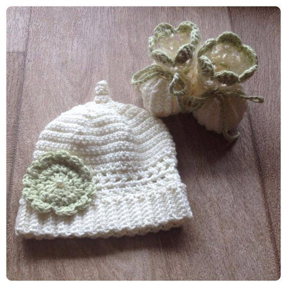 Hand crochet premature beanie and booties set