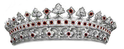 Strawberry Leaf Ruby Diamond Tiara, United Kingdom (mid 19th. c: designed by Prince Albert; rubies, diamonds). Later, altered to an all-diamond tiara. www.royal-magazin.de