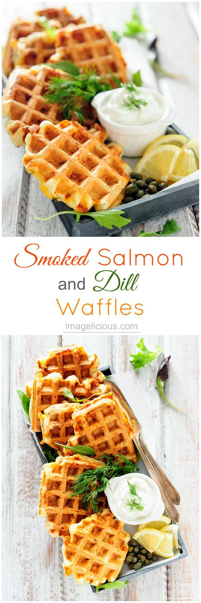 Smoked Salmon and Dill Waffles - perfect savoury breakfast or lunch. Elegant and delicious for a special occasion