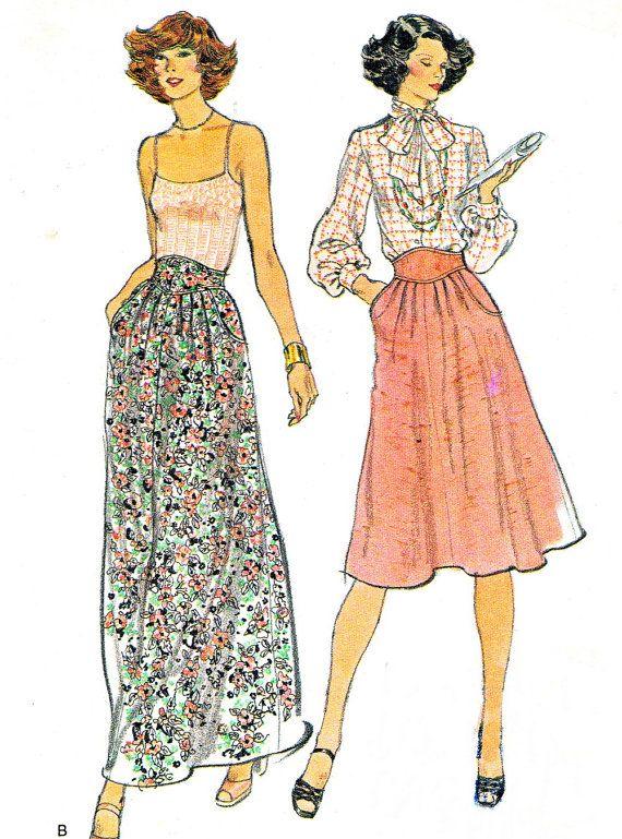 1980s Womens Skirt Pattern Vogue 9249 High Waist by paneenjerez, $10.00