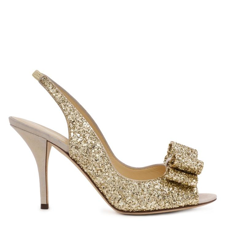 Lovely #KateSpade glittery-gold peep-toe heels. Someday I will have KS heels.