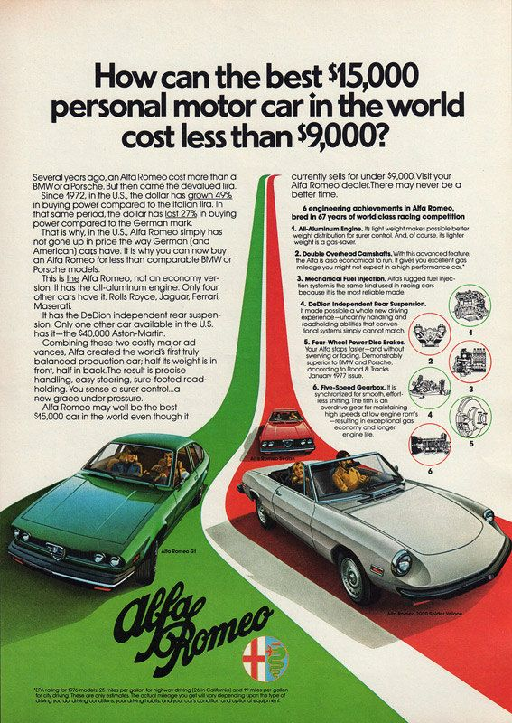 1977 ALFA ROMEO Original Car Ad Gt Sedan & 2000 by phorgotten