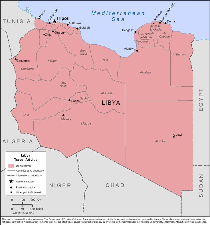 Map of Libya ( This map is presented for information only. The department accepts no responsibility for errors or omission of any geographic feature.  Nomenclature and territorial boundaries may not necessarily reflect Australian Government policy. )