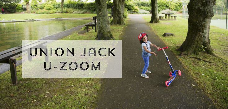 The Union Jack U-Zoom scooter is perfect for summer adventures in the park.