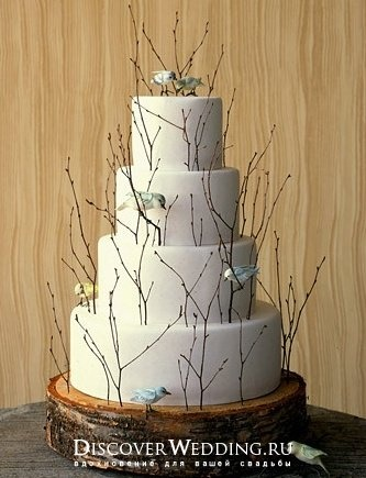 Rustic White Wedding Cake with Mini Tree Branches & Birds