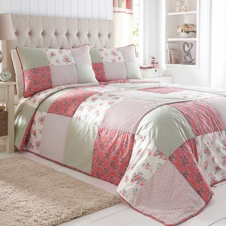 Flora Coral Bedspread | Our exclusive appliqué range, Flora, was inspired by the summer garden. The patchwork bedspread features delicate blossoms in pretty shades. With a high-quality cotton and polyester mix face, the bedspread is filled with polyester and has a soft microfibre reverse, also in polyester. #Kaleidoscope #Bedding #Bed #Bedroom #Style #Inspiration #Home #Lifestyle www.kaleidoscope.co.uk