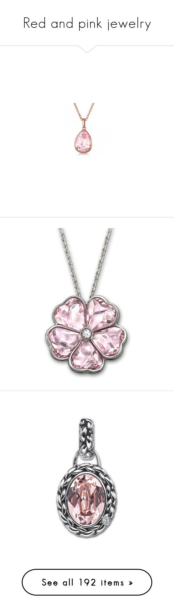 """Red and pink jewelry"" by domino-80 ❤ liked on Polyvore featuring jewelry, necklaces, chain pendants, chain necklaces, rose gold pendant necklace, rose gold pendant, rose gold necklace pendant, accessories, pink and pink crystal necklace"