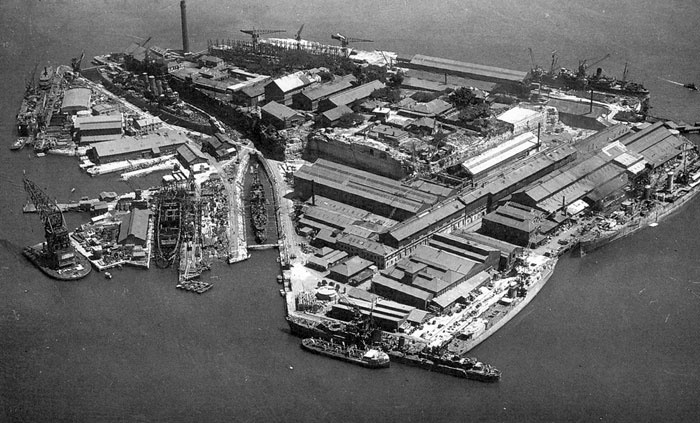 During World War II, Cockatoo Island was the main ship repair facility in the southwest Pacific. 250 ships were converted or repaired at the island, including the Queen Mary and Queen Elizabeth. In August 1943, the cruiser HMAS Hobart limped into Sydney Harbour and Cockatoo Island for repairs and modernisation after suffering torpedo damage in the New Hebrides. In 1945 HMAS Australia, a veteran of the Battle of the Coral Sea, also steamed home for repairs after suffering kamikaze attacks