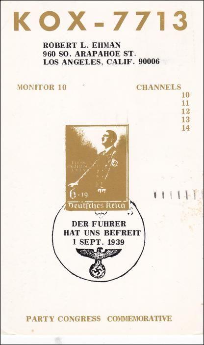American Pro-Nazi PARTY CONGRESS Commerative postcard , Adolf Hitler, Los Angeles , California , PU-1967