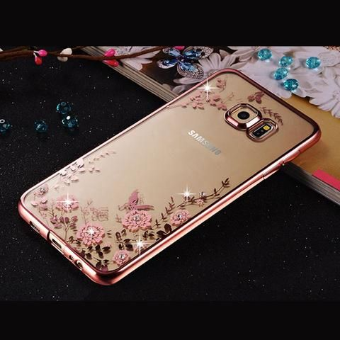 Elegant Dazzling Diamond Bling Accent Transparent Silicone Edge Cover for Samsung Galaxy S7 - 6 Colors - Loluxe - 1