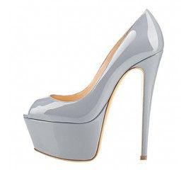 Onlymaker Women's Fashion Super High Heel Pump Platform Peep Toe Slip On Stiletto Wedding Party Shoes