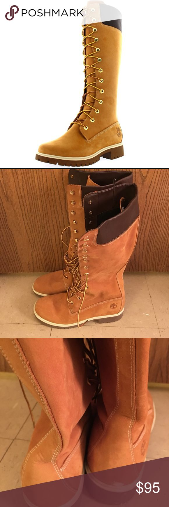 Knee High Timberland Boot Gently used. Like new. Only worn twice. In great condition. There is a tiny damage on the back of the boot. It is a paint stain can easily be removed. Timberland Shoes Winter & Rain Boots