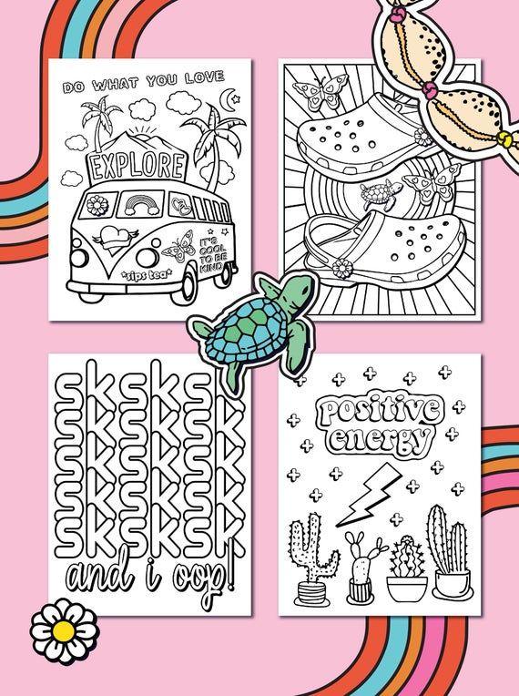Vsco Girl Coloring Book Etsy Coloring Books Cute Coloring Pages Coloring Pages