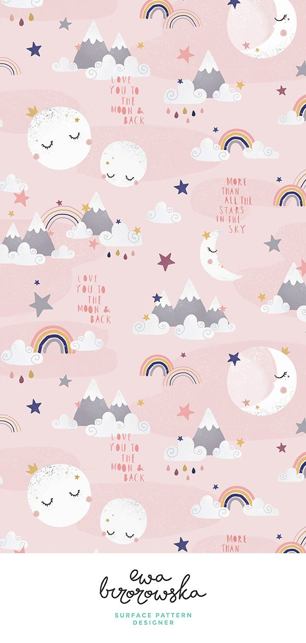 Colorful Fabrics Digitally Printed By Spoonflower Love You To The Moon And Back Pink Baby Girl Wallpaper Wallpaper Design Pattern Wallpaper Iphone Cute